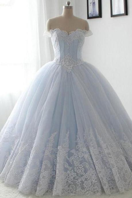 Elegant Ball Gown Tulle Wedding Dresses,Ball Gown Wedding Dresses,Floor length Wedding Gowns,Long Lace Dresses,Off The Shoulder Beading Bridal Dresses,Light Sky Blue Bridal Gowns