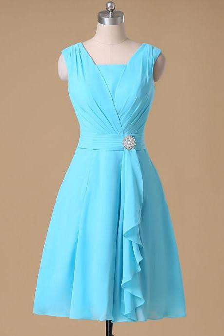 A-line V-neck Chiffon Bridesmaid Dresses,Ruched Short Chiffon Dresses,Knee length Ruffles Chiffon Formal Dresses,Mini Bridesmaid Dresses,Blue Chiffon Bridesmaid Dresses,Cheap Bridesmaid Dress,Bridesmaid Dresses for Women,Simple Custom Made Bridesmaid Dresses,Beach Bridesmaid Dresses,Wedding Party Dresses ,Bridesmaid Dresses Custom