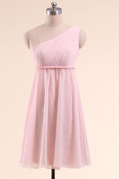 Pink Chiffon Ruched One Shoulder Knee Length Evening Dress, Bridesmaid Dress, Homecoming Dress