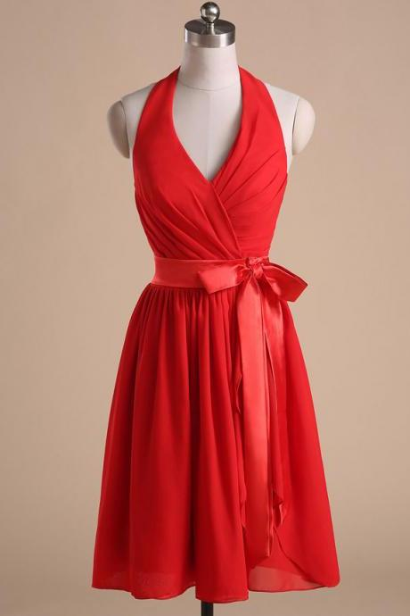 Red Chiffon Halter Neck Plunge V Knee Length Evening Dress Featuring Bow Accent Waist, Bridesmaid Dress, Homecoming Dress