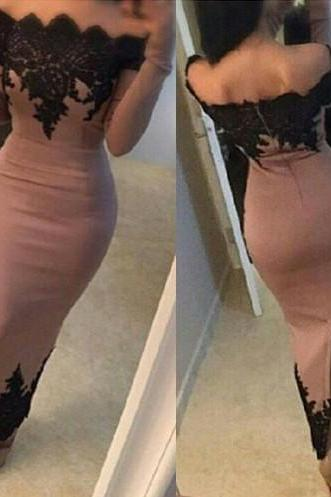 Off the Shoulder Scalloped Neckline Long Sleeves Ankle Length Casual Dress,Black Appliques Mermaid Evening Dresses,Blush pink Satin Formal Dresses,Short Prom dresses,Ankle length Prom Party Dresses