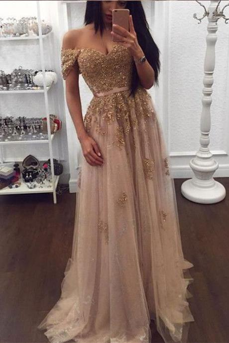 2018 Champagne Prom Dresses,Off the Shoulder Appliques Prom Gowns,Tulle Aplliques Party Dresses,Beaded Prom Gowns,Prom Dresses For Girls,Long Tulle Prom Dresses