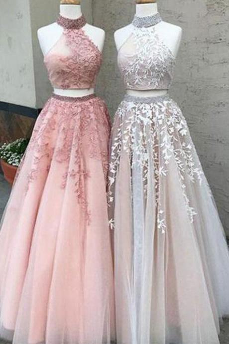 2018 A-line Prom Dresses,Two Piece Tulle Prom Dresses,Nice High Neck Beaded Prom Gowns,A-line Two Piece Appliques Party Dresses,Long Tulle Prom Gowns